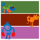 Monster character vector cards funny design element humour emoticon fantasy monsters unique expression crazy animals. Monster character vector cards funny design Stock Photography