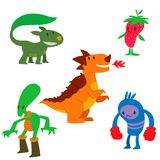 Monster character vector funny design element humour emoticon fantasy monsters unique expression crazy animals sticker. Monster character vector funny design Stock Image