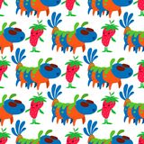 Monster character vector funny design humour emoticon fantasy monsters unique expression crazy animals seamless pattern. Monster character vector funny design royalty free illustration
