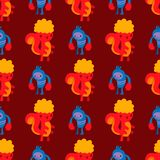 Monster character vector funny design humour emoticon fantasy monsters unique expression crazy animals seamless pattern. Monster character vector funny design stock illustration