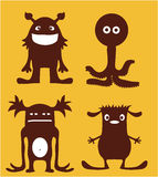 Monster characters. Funny group of bizarre monsters Royalty Free Stock Photos
