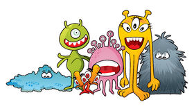 Monster characters. Family of aliens or monsters created in cartoon style Royalty Free Stock Photography