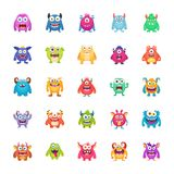 Monster Characters Pack. The monster character pack icons are depicting scary and unusual creatures in a cartoonic way to help the developers and designers in Stock Photos