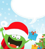 Monster With Christmas Gift Royalty Free Stock Photos