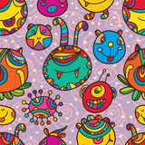 Monster circle seamless pattern Royalty Free Stock Images