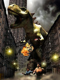Monster in the city. A monster, looks like Godzilla, a chevy car in his hand, destroys the city while a frighten citizen runs far away from him stock photo