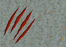 Monster claws. Horizontal background - metal, ripped monster claws Royalty Free Stock Image