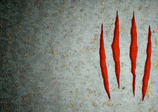 Monster claws. Horizontal background - metal, ripped monster claws Royalty Free Stock Images