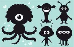 Monster collection. Funny collection of bizarre monsters Stock Images