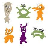Monster color. In orange, green, purple vector illustration