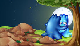 A monster comforting a friend near the tree. Illustration of a monster comforting a friend near the tree stock illustration