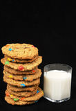 Monster cookies and milk Royalty Free Stock Images
