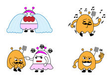 Monster couple cartoon characters Royalty Free Stock Images