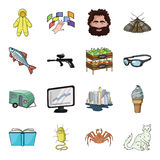 Monster, crab, cat and other web icon in cartoon style. book, knowledge, bacterium icons in set collection. Royalty Free Stock Image