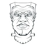 Monster created by Victor Frankenstein. Happy Halloween. Hand drawn Frankenstein Head. Monster concept. stock illustration