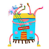Monster creature upside down with flowers colorful design. Happy congratulating creature with bunch of flowers. Vector illustration Stock Photography