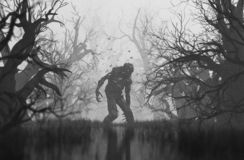 Monster in creepy forest royalty free stock images