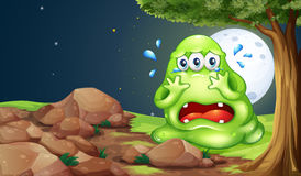 A monster crying near the rocks Royalty Free Stock Images