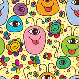 Monster cute happy seamless pattern. Illustration graphic cartoon monster cute happy fun seamless pattern yellow love pink color background stock illustration