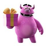 Monster 3D mit Geschenk Stockbild