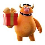 Monster 3D mit Geschenk - humorvoller Charakter Lizenzfreie Stockfotos