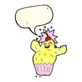 Monster des Karikaturkleinen kuchens mit Spracheblase Stockfoto
