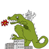 Monster Destroying City Royalty Free Stock Photo