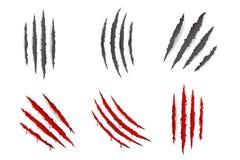 Monster dierlijke klauwen die de krassen gescheurde materiële vectorillustratie van het bloedreeks geïsoleerde ontwerp aftappen vector illustratie