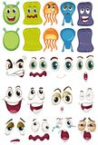 Monster and different face set. Illustration Royalty Free Stock Photography