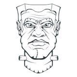 Monster door Victor Frankenstein wordt gecreeerd dat Gelukkig Halloween Hand getrokken Frankenstein-Hoofd Monsterconcept stock illustratie