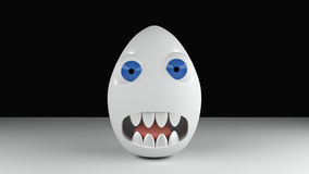 Monster egg with blue eyes and teeth Stock Photography