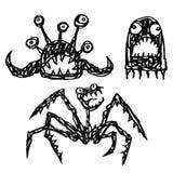 Monster Emoticons eingestellt Konturn-freihändige Digital-Zeichnung Auch im corel abgehobenen Betrag vektor abbildung
