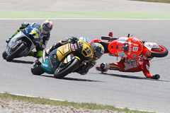 Monster Energy Grand Prix of Catalunya MotoGP. Drivers Jordi Torres and Dominique Aegerter, Moto Crash. Moto2. Barcelona, Spain - June,15, 2014: Monster Energy Royalty Free Stock Image