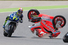 Monster Energy Grand Prix of Catalunya MotoGP. Drivers Jordi Torres and Dominique Aegerter, Moto Crash. Moto2. Barcelona, Spain - June,15, 2014: Monster Energy Royalty Free Stock Images