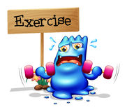 A monster exercising in front of the signboard Stock Photography