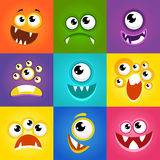 Monster expressions. Funny cartoon faces vector Stock Photos