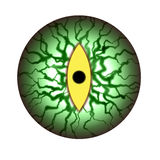 Monster eye creepy eyeball. Spooky green eyeball with yellow iris staring at you. Full of veins. Isolated with white background. Halloween, monster, vampire royalty free illustration