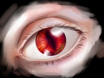 Monster eye with red iris. Eye with red iris and vertical pupil belonging to some monster, demon, dragon or vampire. Digital art Royalty Free Stock Photos