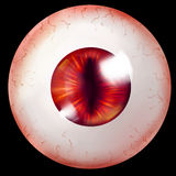 Monster eyeball isolated. Eyeball with red iris and vertical pupil belonging to some monster, demon, dragon or vampire. Isolated on black background. Digital art Royalty Free Stock Photography