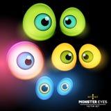 Monster Eyeball Set. A collection of monster eye sets. Vector illustration royalty free illustration