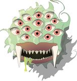 Monster with eyes and tooth vector illustration
