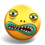 Monster. Face on yellow badge Royalty Free Stock Photography