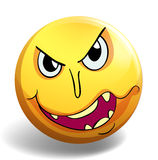 Monster face on yellow ball. Illustration Royalty Free Stock Photo