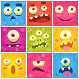 Monster Faces Collection Stock Image