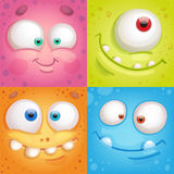 Monster faces. Set of cartoon monster faces Royalty Free Stock Photos