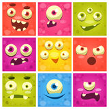Monster Faces Set Stock Image