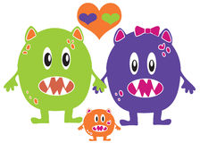 Monster Family Love Royalty Free Stock Image