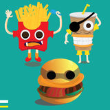 Monster fast food cartoon character. Royalty Free Stock Photo