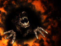 Monster in fire. 3d render Stock Images