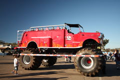 Monster fire truck. A fire engine monster truck is on display at Qualcomm Stadium in San Diego before a show that took place on January 17, 2009 Stock Photo